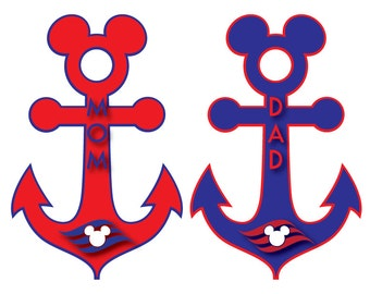 Disney Inspired Nautical Anchor Family Magnet Red or Blue for Disney Cruise