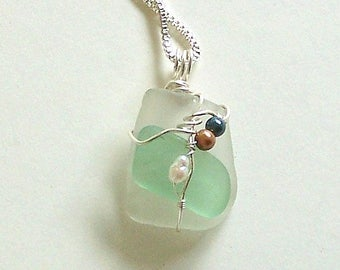 White and Light Green Sea Glass Pendant Wire Wrapped with Freshwater Pearls by Carol Wilson of Jet'adorn