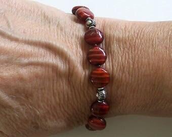 Red Striped Czech Glass Puffed Disk Beads Bracelet by Carol Wilson of Je t'adorn