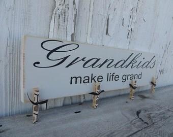 Grandkids Make Life Grand Picture Hanger, Grandparent Brag Board In Cream- Ready To Ship