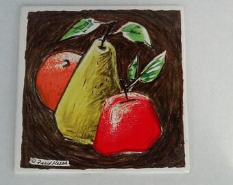 Vintage Fred Press Fruit Tile - MCM Apple Orange Pear