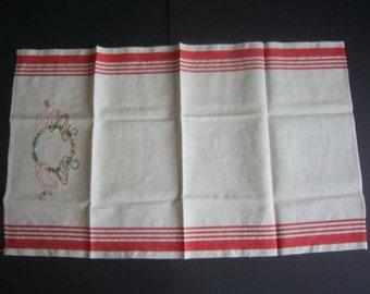 Vintage Hand Embroidered Linen Hand Towel