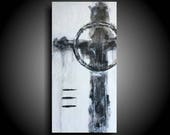 Large Abstract Cross Painting 20 x 10 Black White Religious Painting Texture Painting Encaustic Original Painting Canvas Wall Art Christian