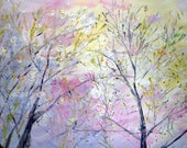 Large Painting 64x36 Extra Large Canvas Spring Summer Pastel Abstract Landscape Art by Luiza Vizoli