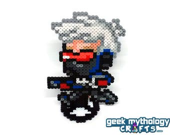 Soldier 76 - Perler Bead Sprite Pixel Art Figure Stand or Lanyard Necklace