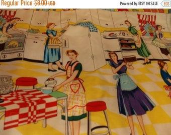 ON SALE Vintage Kitchen Table Mat-Vintage Ladies Baking-Vintage Mat