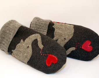 Mittens Eco Friendly felted Wool Sweater Dark and Light Grey and Red Elephant Applique Fleece Lining Leather Palm Upcycled Size M/L