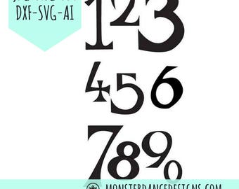 Number Art Digital Pattern Stencil for Silhouette - Etching- Stamping