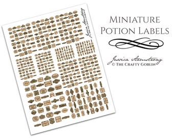 Miniature Potion Labels for Dollhouses and Scenes