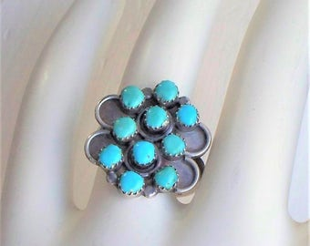 Native American Turquoise Ring - Sterling, Zuni, Snake Eyes, Petit Point, Turquoise