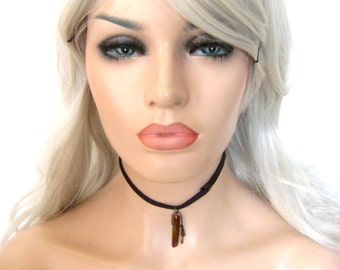 Leather Magic crystal Tear drop choker, Rustic healer choker Talisman necklace series By Renegade Icon Designs