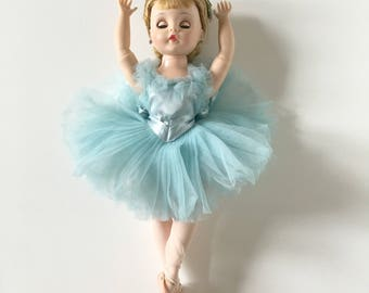 Vintage Elise Ballerina Madame Alexander in Blue Dress and Stockings with Blond Hair Blue Eyes - Free US Shipping
