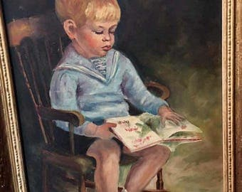 Vintage Framed Original Oil Painting - Boy Reading A Book