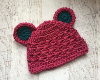 READY TO SHIP in size 0-3 months, Crochet Baby Hat with Ears, Baby Girl Hat, Fuschia and Teal, Animal Hat, Teddy Bear Hat, Newborn Hat
