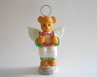 Angel Bear Figurine Angel Bear Statue Bear With Harp Resin Figurine Young's Berry Hill Bears Wanna Be's 1997 Vintage 1997 Made in China