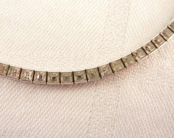 Vintage Art Deco Dorson's Square Cut Rhinestone Sterling Chain Necklace