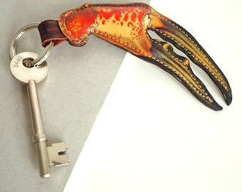 Crab Claw key chain / padded leather keyring
