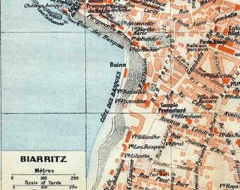 1926 Vintage Map of Biarritz, France - Vintage City Map - Old City Map