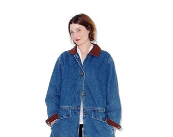 WTF HALF OFF 90s Oversized Denim Jacket oversized jean jacket xs small / plaid flannel lining winter coat 90s clothing 90s grunge