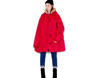 omg worlds most amazing giant oversized parka / red parka coat with faux fur lined hood / hooded coat winter coat 5xl oversized puffer coat