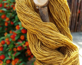 Hand Dyed and Hand Spun Rustic Gold Wool Yarn by Wildling Art