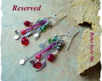 Reserved - Boho Gypsy Earrings, Romantic Bohemian Jewelry, Hearts and Wings, Fun Playful Dangle Earrings, Boho Style Me, Kaye Kraus