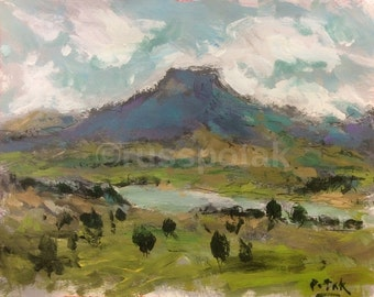 Southwest Art Landscape Painting, FREE SHIPPING, Ghost Ranch, Abiquiu, New Mexico,  Cerro Pedernal,  RussPotakArtist