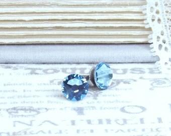 Aquamarine Studs Blue Crystal Studs Blue Stud Earrings Aqua Blue Studs Surgical Steel Studs