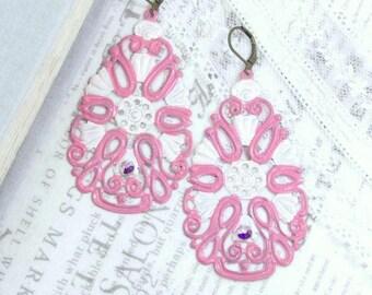 Pink Bohemian Earrings Large Dangle Earrings Pink Filigree Earrings Extra Large Earrings