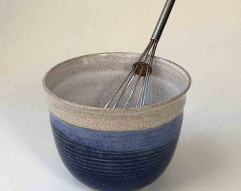Deep Blue with Speckled White Food Prep Bowl, Ships Fast, Stoneware Mixing Bowl, Gift for Cook, Whisking Bowl, Deep Soup Bowl, Pho Bowl