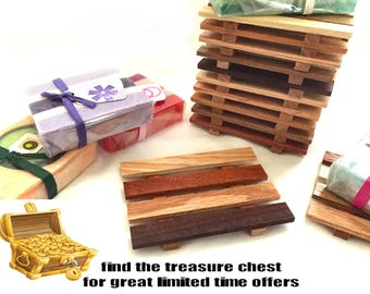 8 Reclaimed Wood Soap Dishes - 1.00 Dollar each - LOWEST PRICES online - handmade in USA