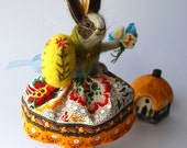 An Original Needle Felted  Rabbit with Needle Felted Egg and Felt Flowers