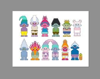 Trolls Pixel People Character Cross Stitch PDF PATTERN ONLY