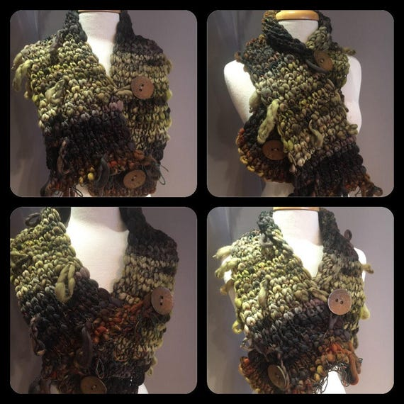 Hand Knit scarf with oversized buttons, Art Scarf, Eco friendly hand spun yarn Scarf with button, Wool silk blend, Knit Scarf or cowl