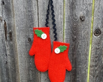 Rescued Wool Mittens Ornaments - Matching Pair in Red Rib Knit Wool - recycled sweater wool