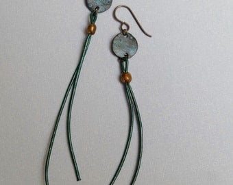 Leather and Patina Earrings