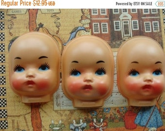 ON SALE Large Serious  Vintage Doll Faces
