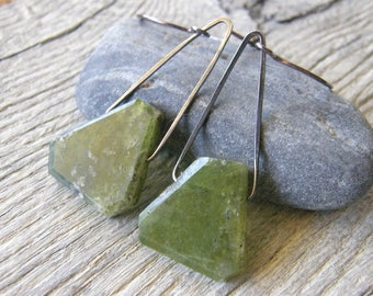 Green Vesuvianite Mountain Earrings, Sterling Silver and Green Stone Earrings