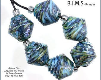 Lampwork Beads, Silvered Variegated Teal & Blue Half Ribbed Bicone Murano lampwork beads with Silver Foil, Bims Bangles, Made to Order