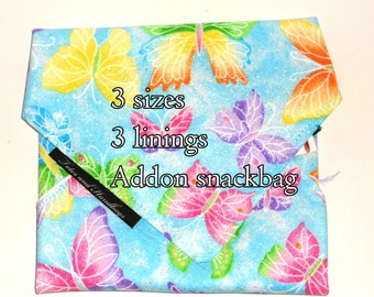 Sandwich Wrap and Snack Bag SET with Glitter Blue Butterflies / Eco-Friendly  / Snack Bag / Back to School / Washable