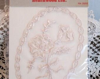 One Large Vintage 60's Embroidered Lingerie Applique/NOS/Trim/ Appliques/Crafts/Sewing Fashion/DIY/Embellishments