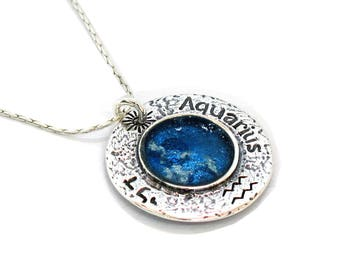 Roman Glass Round Aquarius Necklace, Oxidized Sterling Silver Necklace, Unique Zodiac Necklace, Blue Roman Glass Charm, Birthday Gift Israel