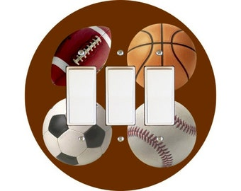 Sport Ball Triple Decora Rocker Switch Plate Cover