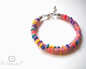 Multicolored Bracelet with clasp-ThousandTwist Carnival Peachy-pop bracialet cotton boho bracelet,rope textile bracelet jewelry by fridawer