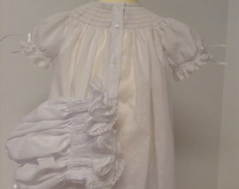 Made to Order Pima Batiste French Handsewn Ready to Smock Infant  Bishop Daygown and Bonnet