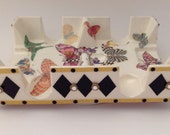 Canasta Revolving Tray Butterflies and Harlequin