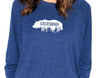 California Grizzly Pullover - California Redwoods Screenprint - American Apparel Raglan Pullover - Small, Medium, Large