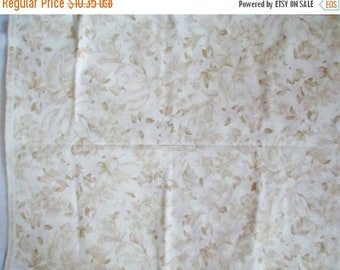 "Sale Cream Tan Flowers Fabric - 34"" x 44"" - Red Rooster Fabric"