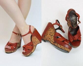 1970s Shoes ElDita's Platforms Size 8.5 /  70s Vintage Cork Wedges /  Cherry Red Shoes