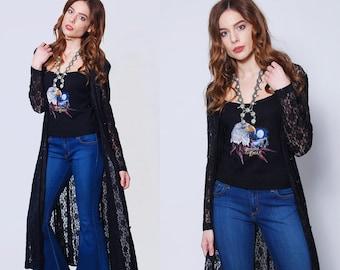 Vintage 80s Black LACE Duster Lace Maxi Dress Long Boho Top Bohemian Dress